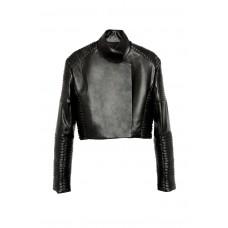 Кроп-куртка из экокожи