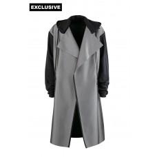 Пальто с капюшоном и без застежки (имитация карбон)
