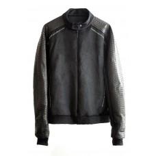 Куртка с кожей питона на рукавах