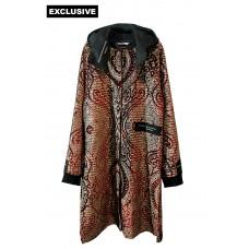 Пальто с капюшоном (бархат гофре с золотым теснением)